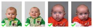 Uitzonderingen  pasfoto's voor babies, baby's